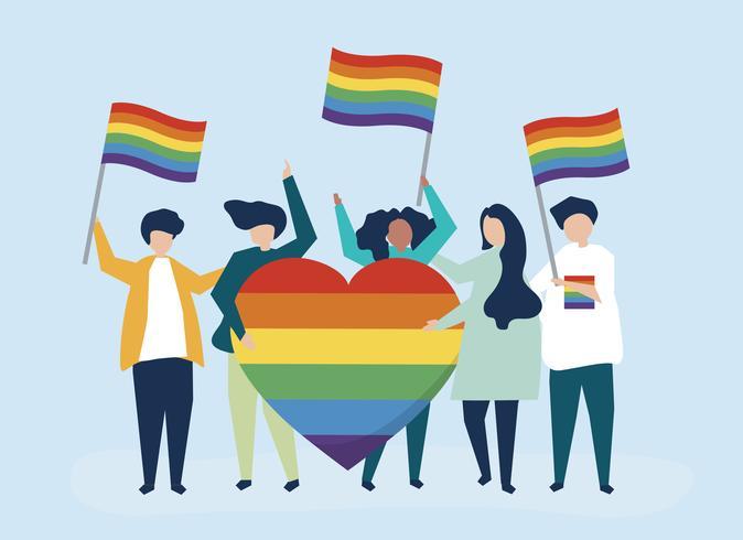 Ilustración de personaje de personas con iconos de apoyo LGBT