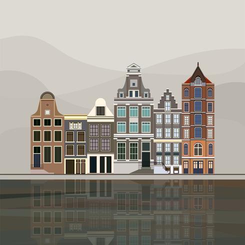 Illustrazione delle case tradizionali del canale europeo a Amsterdam