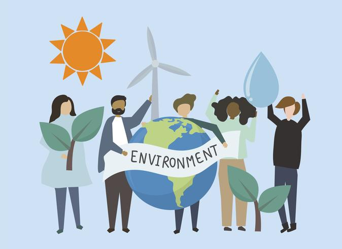 Människor med förnybar energi resurs illustration