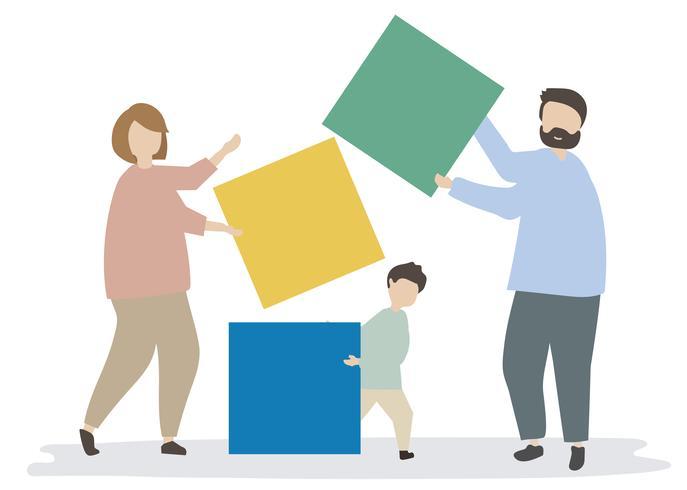 Familie die kleurrijke blokkenillustratie houdt