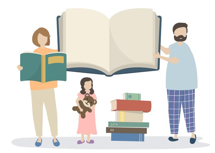 Family reading a story book