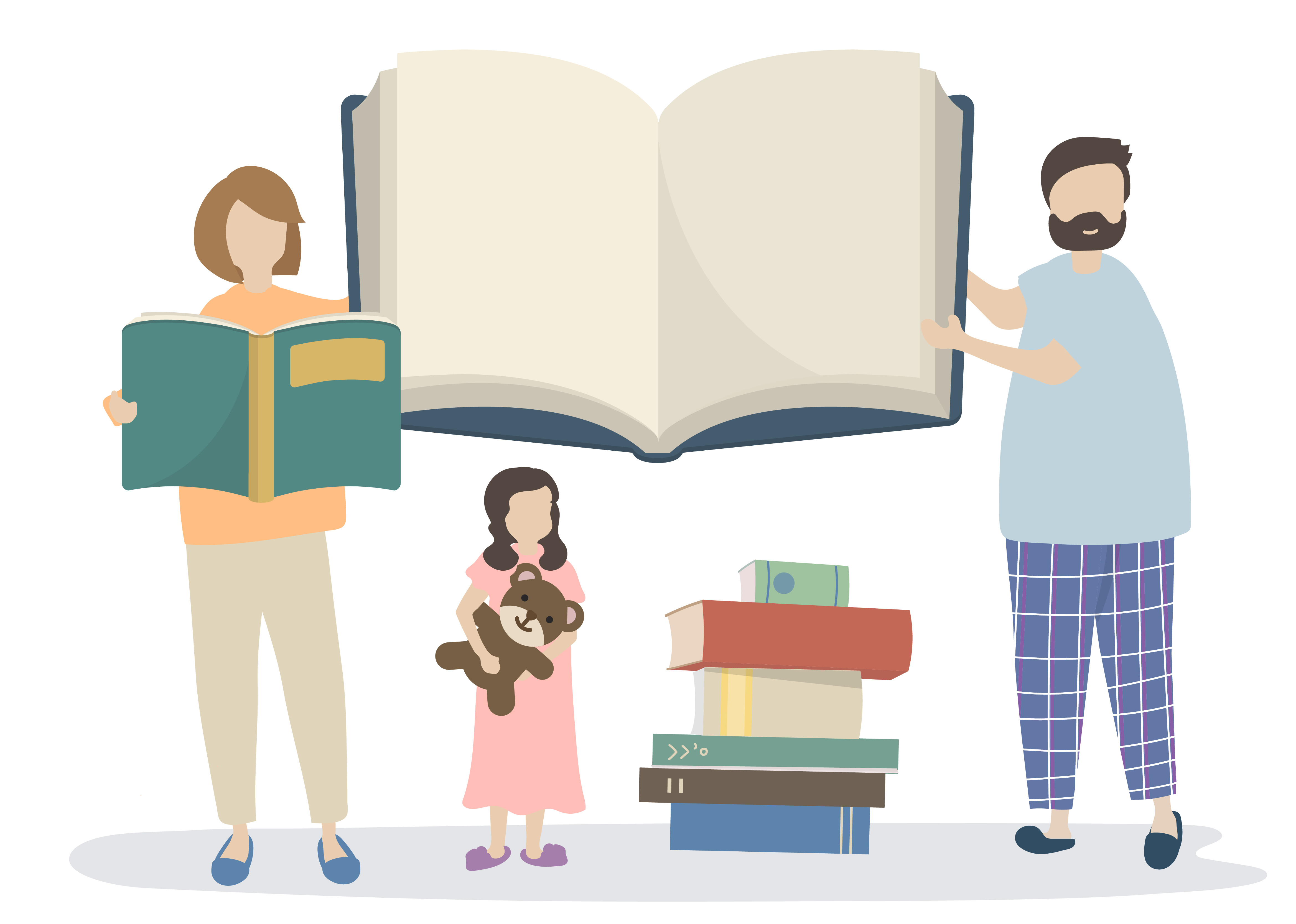 семья читает книги картинки на прозрачном фоне также