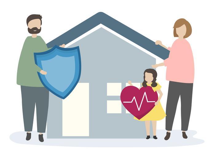 Familj med hemförsäkring och säkerhet
