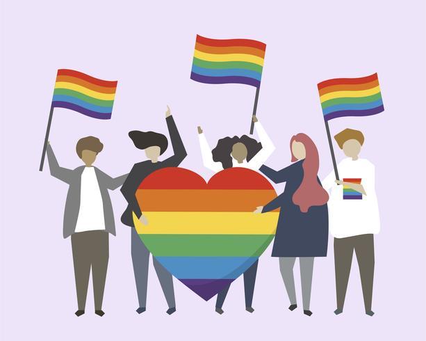 Gente con ilustración de banderas de arco iris LGBTQ