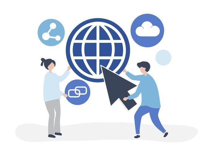 Tecken och global kommunikation koncept illustration