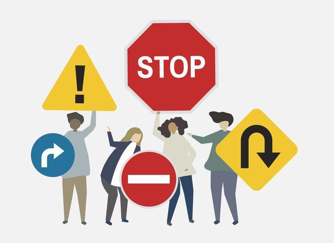 Illustration av gatuskyltar för säkerhet gäller illustration