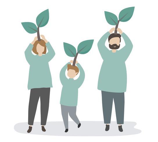 Familie die om het milieu geeft