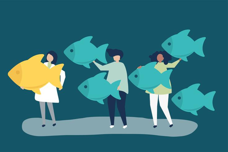Mensen die vissenpictogrammen in leidingsconcept dragen