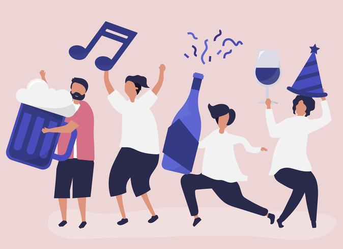 Amigos festejando e bebendo bebidas diferentes
