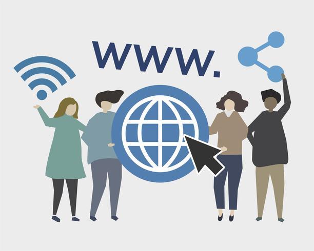 Webbplats och online närvaro illustration