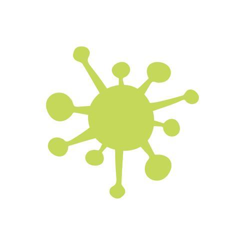 Grön bakterier isolerad grafisk illustration