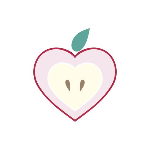 Sliced apple isolated graphic illustration