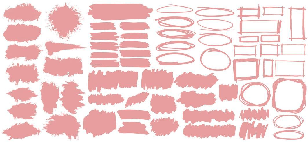 Samling av pastellrosa banderoll illustration