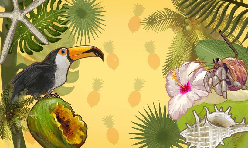 Fondo de plantas y frutas tropicales.