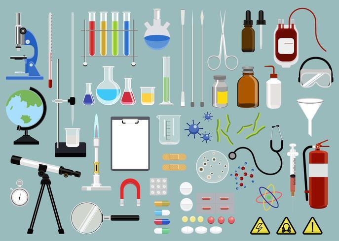 Collection of scientific equipments icon illustration