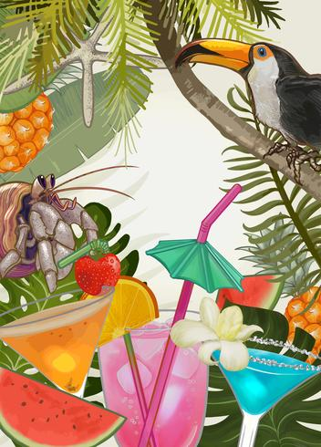 Tropische Pflanzen und Früchte Hintergrund