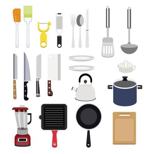 Ilustración de la colección de utensilios de cocina.