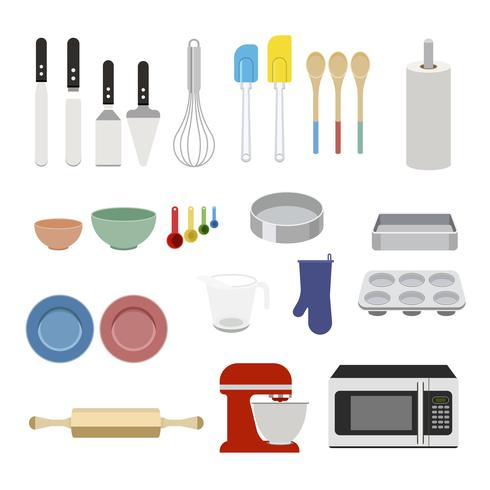 Coleção de equipamentos de cozimento definir ilustração