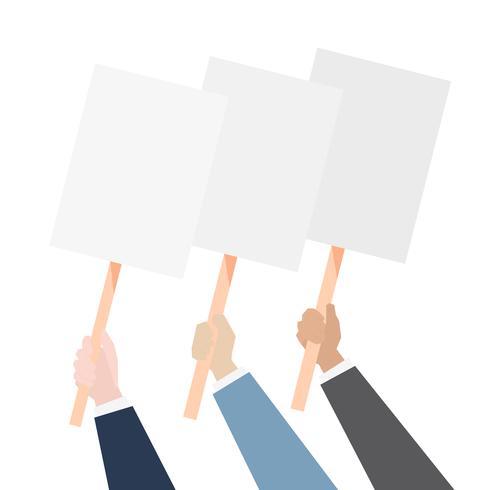 Händer som visar blank protestbräda