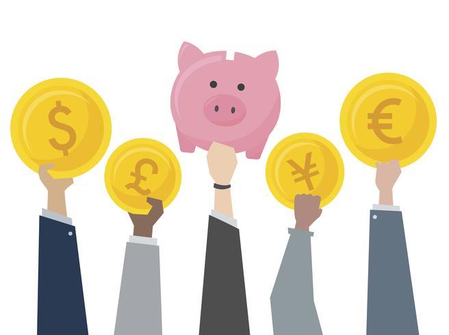 Ilustração de cofrinho e troca de moeda