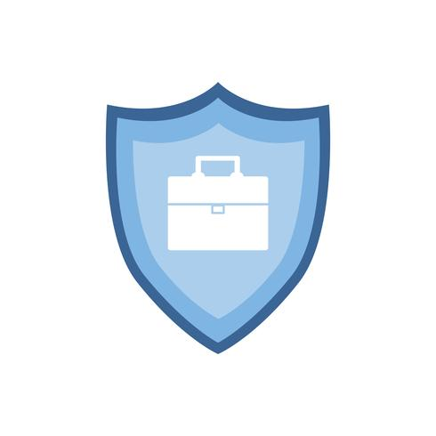 Briefcase on blue shield graphic illustration