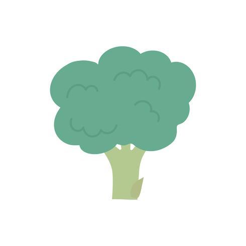 Single fresh green broccoli graphic illustration