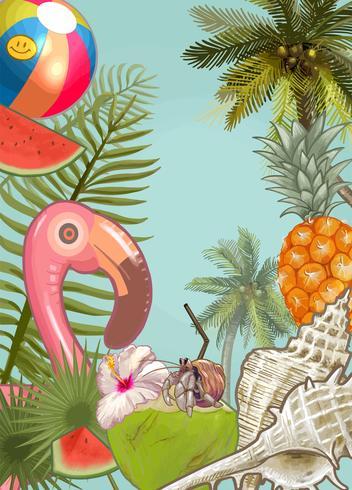 Sfondo di piante e frutti tropicali