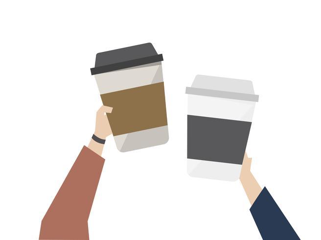 Illustration av kaffe på språng