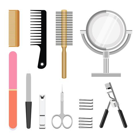 Collection of women cosmetic toiletries icons vector