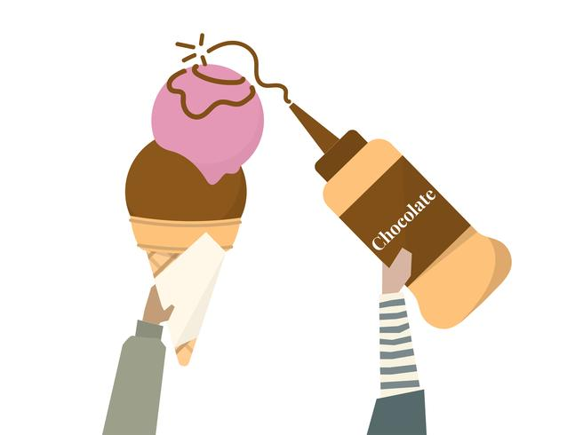 Ilustração de casquinha de sorvete e cobertura