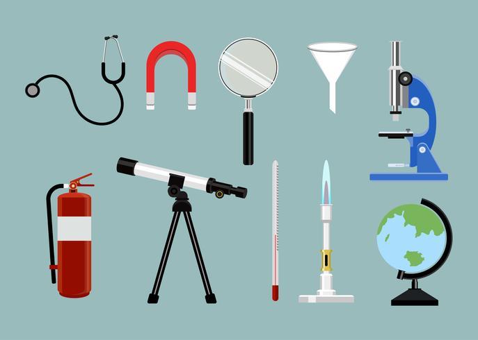 Samling av vetenskapliga studieverktyg som illustreras