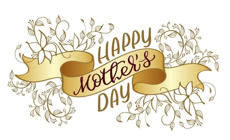 Glücklicher Mutter-Tagesvektorweinlesetext auf Goldfarbbandhintergrund. Kalligraphiebeschriftungsillustration EPS10