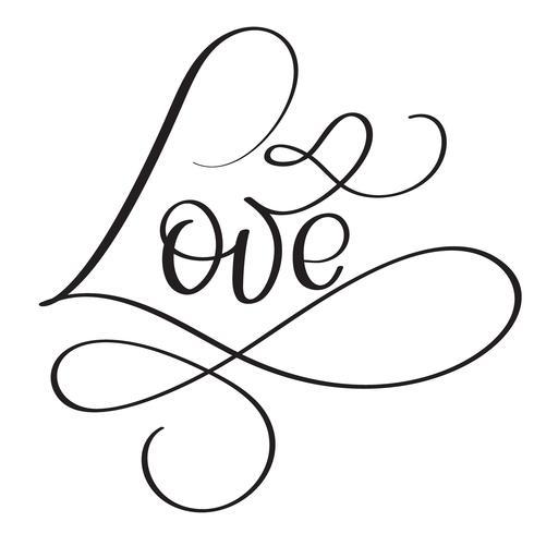 Palavra de amor em fundo branco. Mão desenhada caligrafia letras ilustração vetorial Eps10 vetor