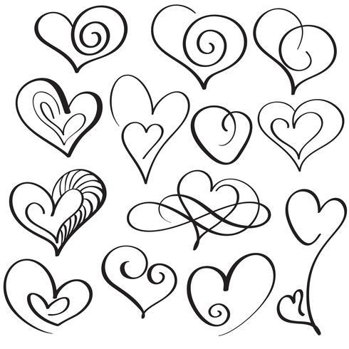 Satz Kalligraphieherzkunst für Design. Vektorabbildung EPS10