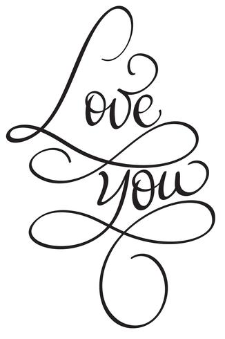 Te amo palabras sobre fondo blanco. Dibujado a mano caligrafía Letras ilustración vectorial EPS10