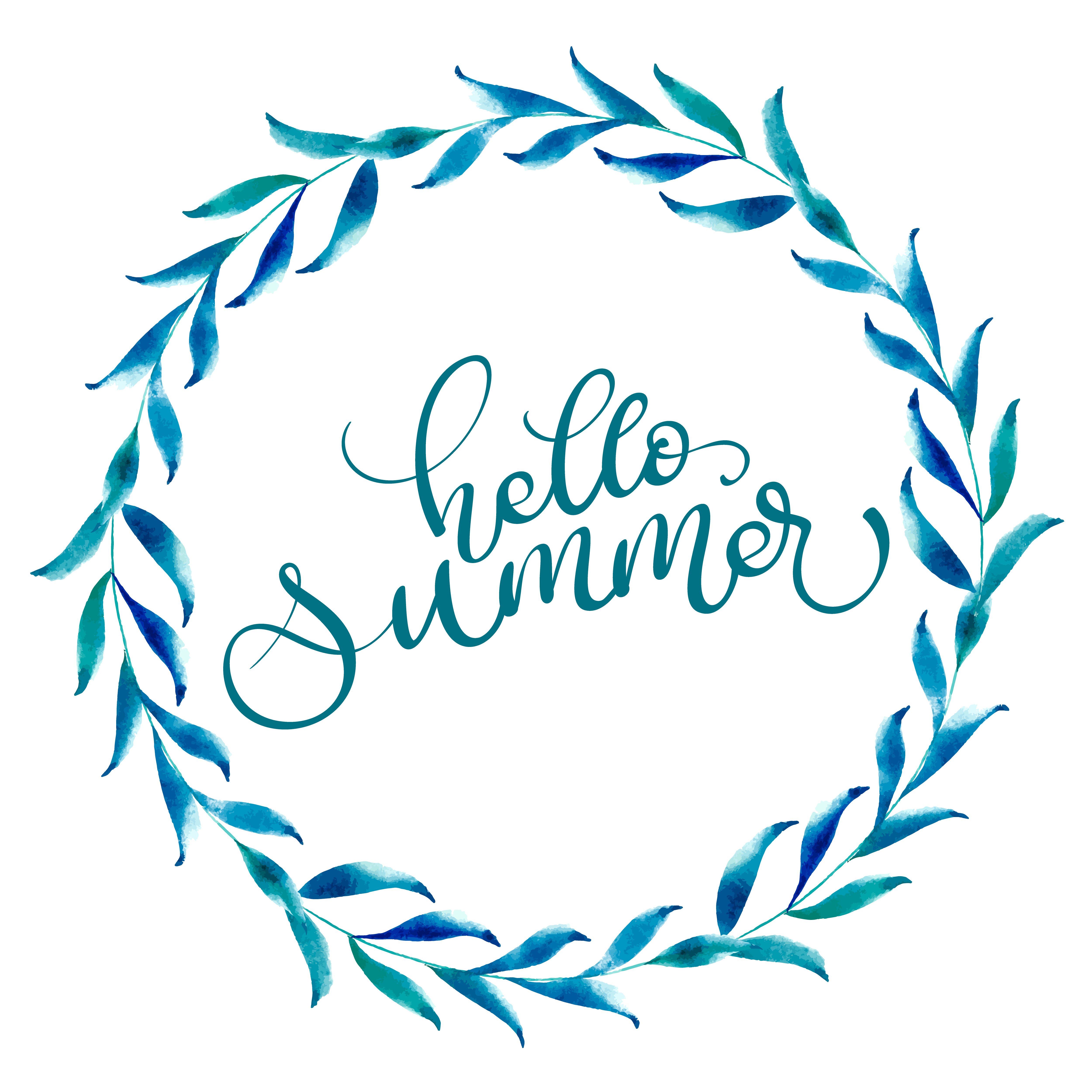 Round Frame Of Leaves And Text Hello Summer. Vintage Hand