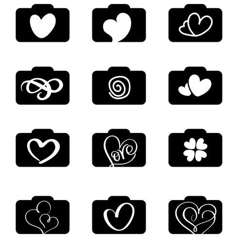 uppsättning fotograferings ikoner logotyper för kärleksbröllop. Vektor illustration EPS10