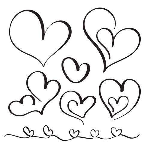 Conjunto de corazones vintage de caligrafía florecer. Dibujado a mano ilustración vectorial EPS 10