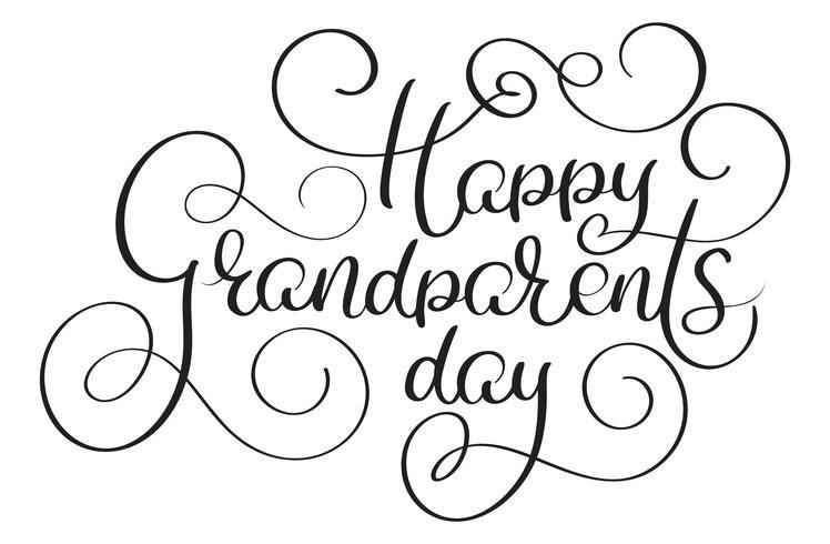 Glad morföräldrar dag text på vit bakgrund. Handritad kalligrafi bokstäver Vektor illustration EPS10