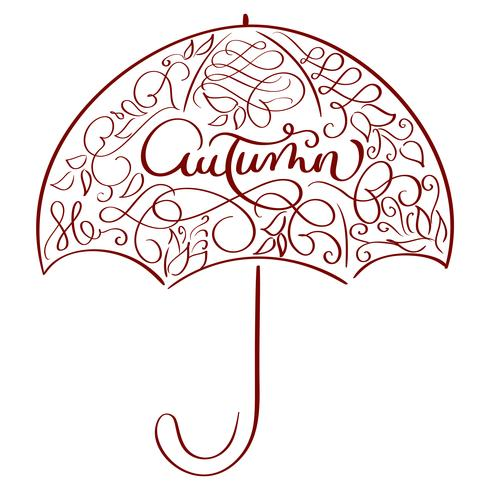 herfst woord in vintage illustratie paraplu op witte achtergrond. Hand getrokken kalligrafie belettering vectorillustratie EPS10