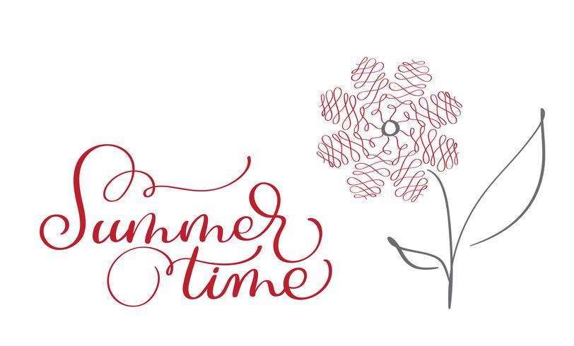 Texto do vintage do vetor das horas de verão no fundo branco. Caligrafia, lettering, ilustração, EPS10
