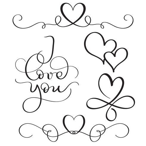 Eu te amo texto com corações em fundo branco. Mão desenhada caligrafia letras ilustração vetorial Eps10