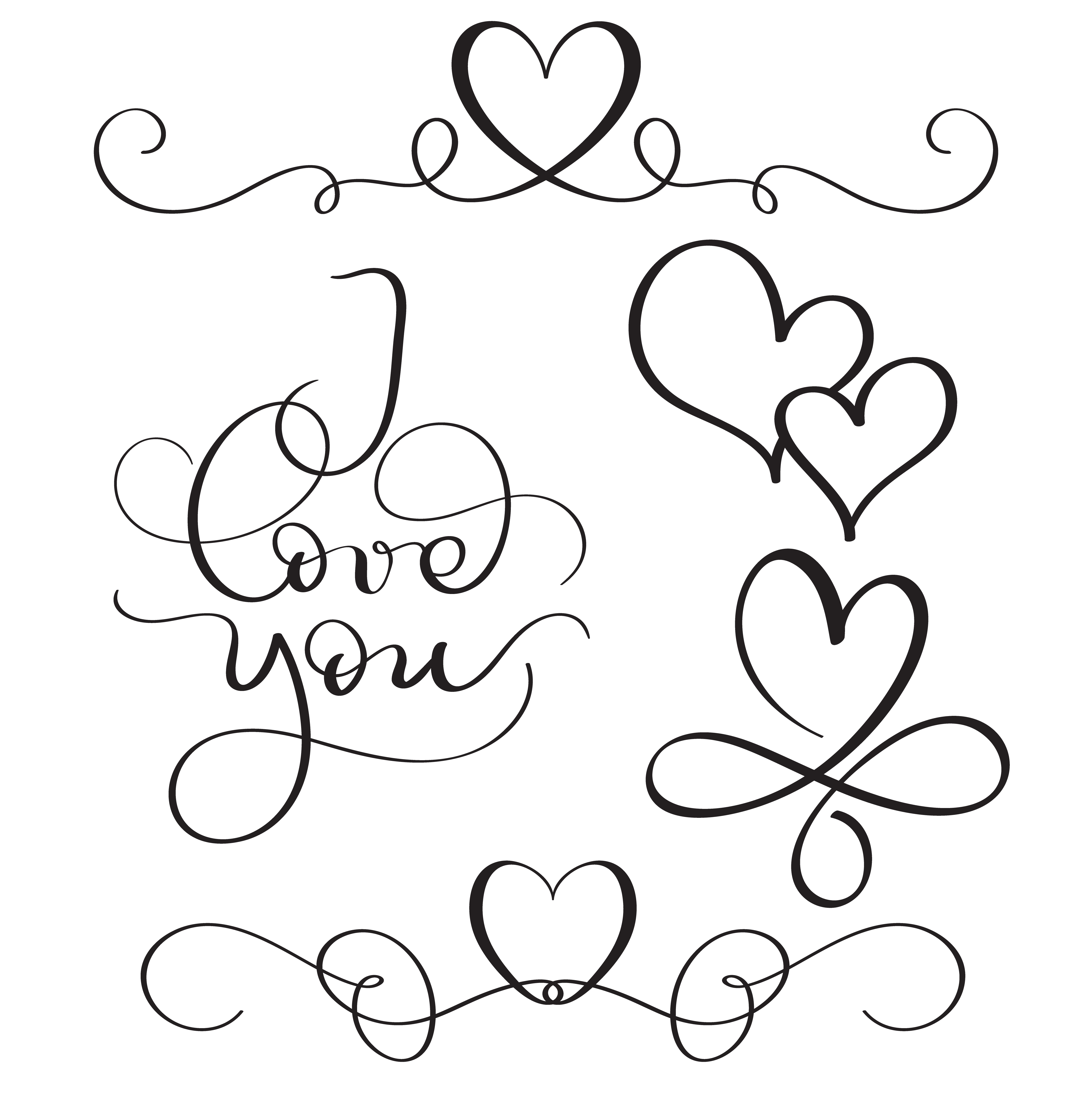Download I love you text with hearts on white background. Hand ...