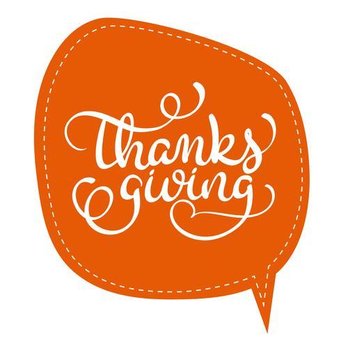 Palabra de la acción de gracias en marco anaranjado de la etiqueta en fondo. Dibujado a mano caligrafía Letras ilustración vectorial EPS10