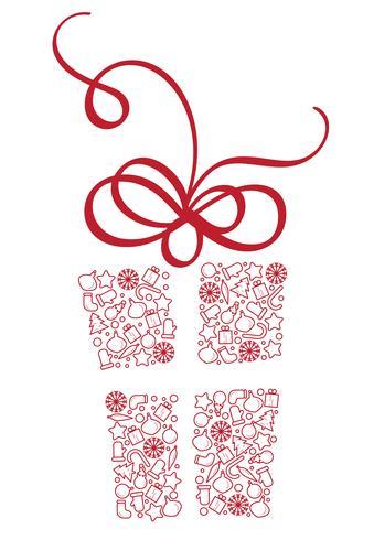 Scatola regalo stilizzata di elementi natalizi. Illustrazione EPS10 di vettore di calligrafia