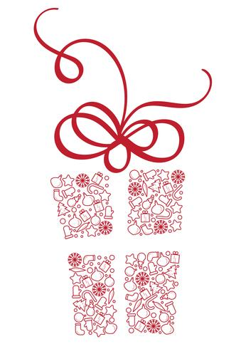 Stylized Gift Box of Christmas Elements. Calligraphy Vector illustration EPS10