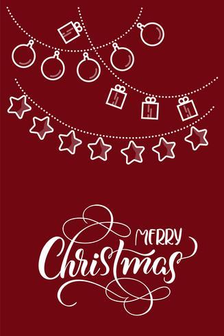 stiliserade plana julleksaker på rött backgroud och texten på God jul. Vektor illustration EPS10