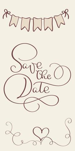 bewaar de datum vintage tekst voor trouwdag. Kalligrafie die Vectorillustratie EPS10 van letters voorzien