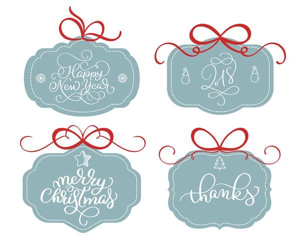 vektor samling av ljusa klistermärken, emblem och banderoller med kalligrafi julafton text
