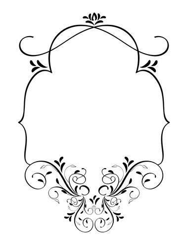 cornice d'epoca con foglie isolato su sfondo. Illustrazione di calligrafia di vettore EPS10